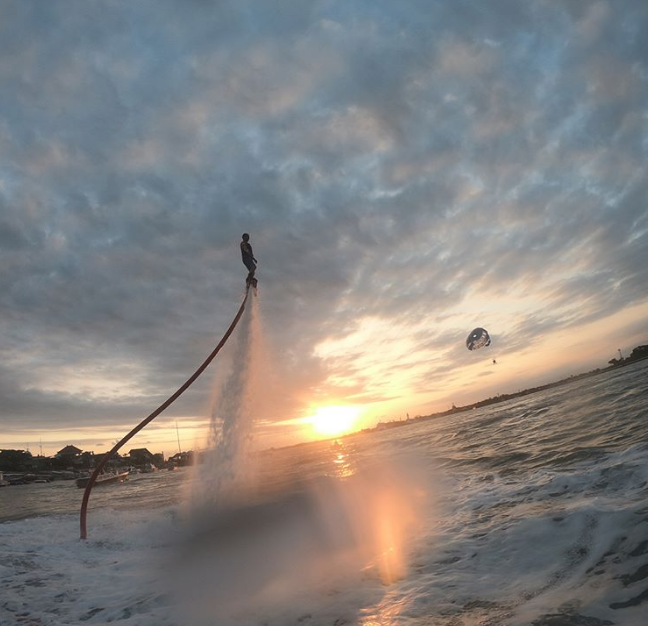 Flyboard Bali in sunset