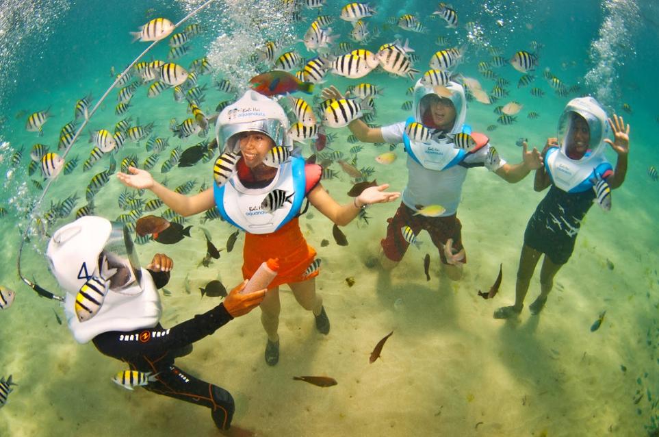 underwater beauty with Aquanauts eat fish