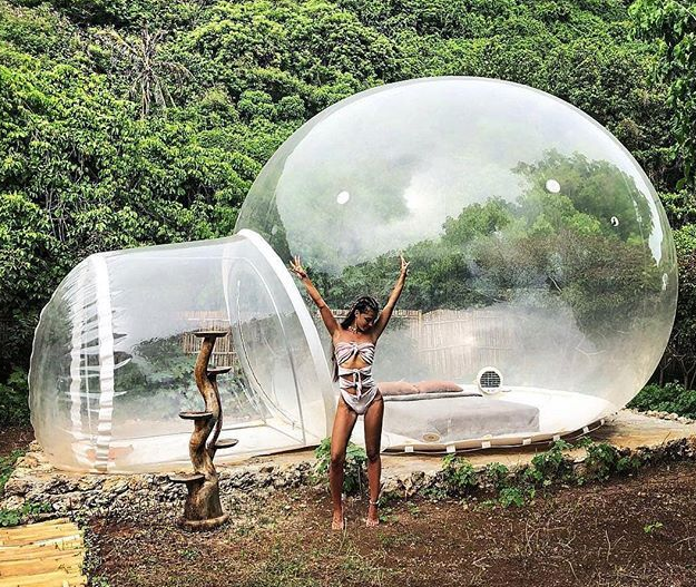 Bubble hotel Pecatu woman happy