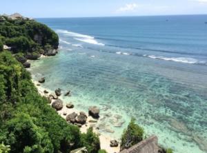 Beautiful white sand in Pecatu beach Bali