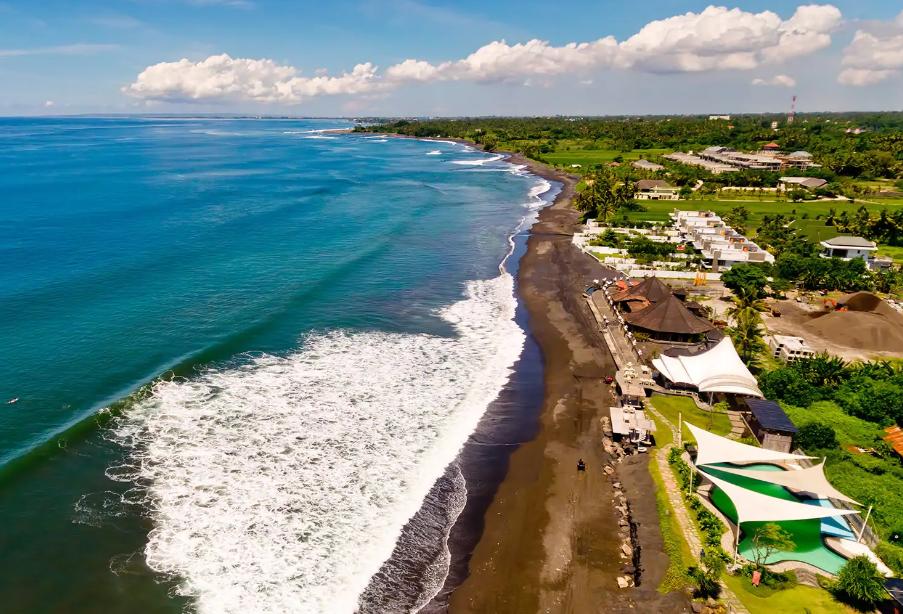 Gianyar Keramas Beach Bali from sky